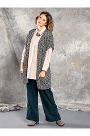 Open Front Marled Cardigan Sweater