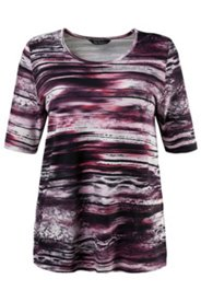 Brushstroke Print Knit Top