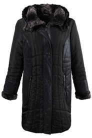 Quilted Suede Inset Accent Coat