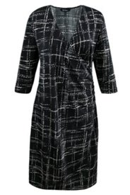 Abstract Windowpane Print Knit Dress