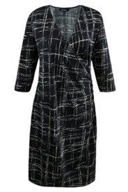 Abstract Windowpane Print Knit Dress