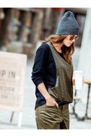 Sweatshirt Look Print Overlay Tee