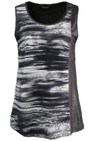 Faux Leather Trim Print Tank