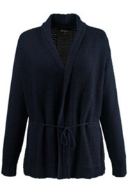 Textured Shawl Collar Tie Waist Cardigan Sweater