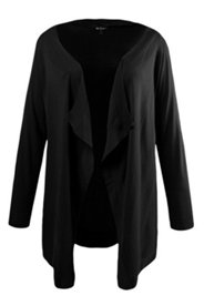 Ribbed Collar Open Front Cardigan Sweater