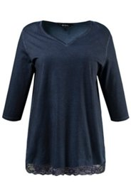 Oil Dyed V-neck Lace Trim Tee