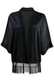 Open Front Fringe Hem Kimono