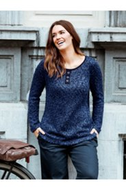 Marled Texture Henley Sweater