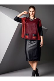 Faux Leather Inset Knit Skirt