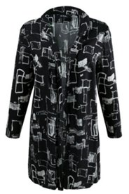 Geometric Square Print Open Front Tunic