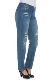 Boyfriend Rhinestone Fray Jeans