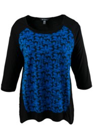 Cat Print Front Inset Knit Top