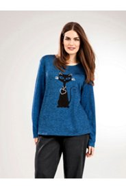 Sparkle Black Cat Knit Top