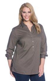 Print Shirt Collar Pullover Blouse
