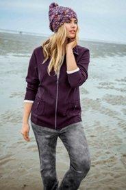 Mixed Fabric Zip Knit Jacket