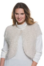 Plush Knit Cap Sleeve Bolero Jacket