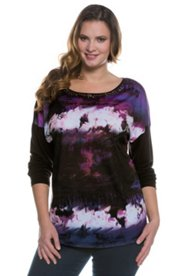 Abstract Print Jewel Neck L/S Knit Top