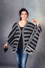Stripe Sweater Knit Open Front Poncho