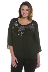 Floral Sequin Design Blouse