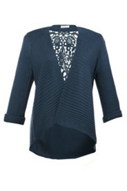Open Front 2 Stitch Cardigan Sweater