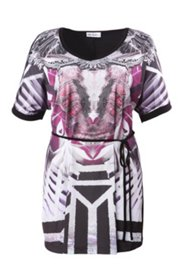 Belted Print Knit Tunic