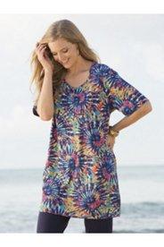Spiral Rainbow Tie Dye Print Knit Tunic