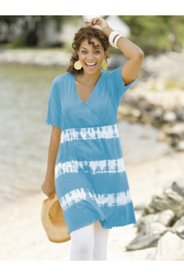 Surplice Tie Dye Knit Tunic Dress