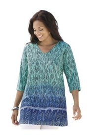 Border Blues Print Knit Tunic