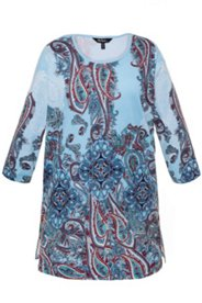 Blue Paisley Border Print Knit Tunic