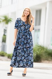 Shades of Blue Floral Knit Print Dress