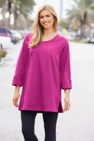 Raglan Roll Sleeve Knit Tunic