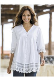 Lace-trim Pintuck Tunic