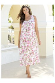 Ribbon Trim Floral Nightgown
