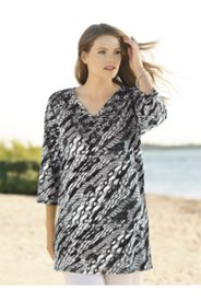 Embroidered Bi-color Knit Tunic