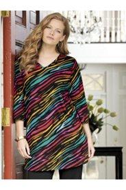 Zebra's Rainbow Print Knit Tunic