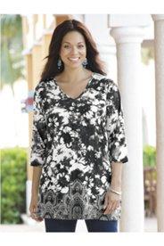 Floral Border Print Knit Tunic