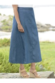 Whisper-light A-line Denim Skirt
