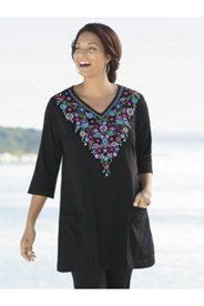 Floral Glory Embroidered Knit Tunic