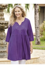 Martinique Embroidered Babydoll Knit Tunic