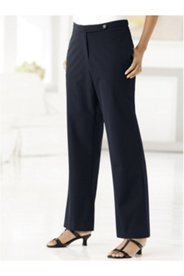 Stretch Button-and-Zip Tab Pants