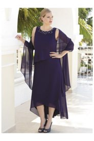 Chic Cascade Layered Dress and Shawl Set