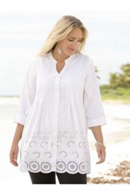 Jennifer Pintucked Cutwork Tunic