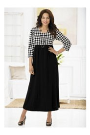 Houndstooth Empire Knit Dress