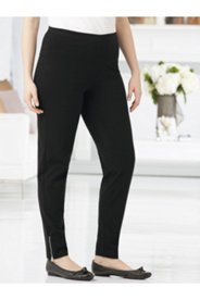 Zip-hem Stretch Knit Leggings