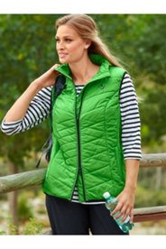 Contrast Trim Quilted Zip Vest