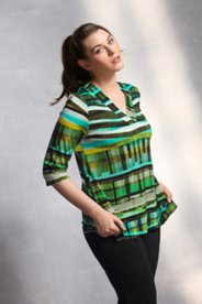 Abstract Stripe Crossover V Knit Top