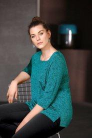 Abstract Dot Square Neck Knit Top