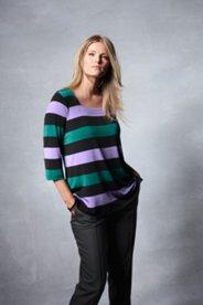Square Neck Silky Stripe Knit Top