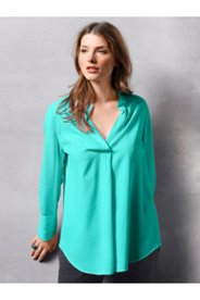 Stand Up Collar Crossover Blouse