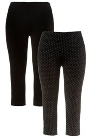 2 Pack Knit Capris - Dot & Black